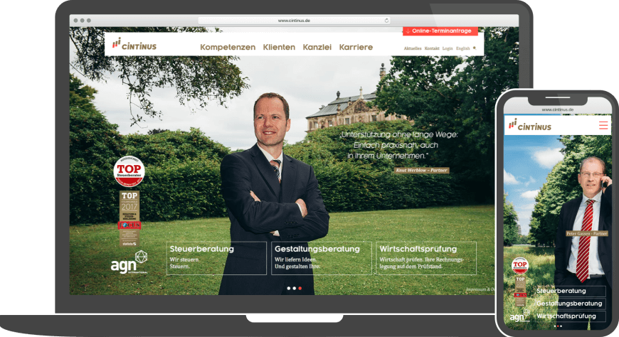 Referenz Webdesign Website Cintinus