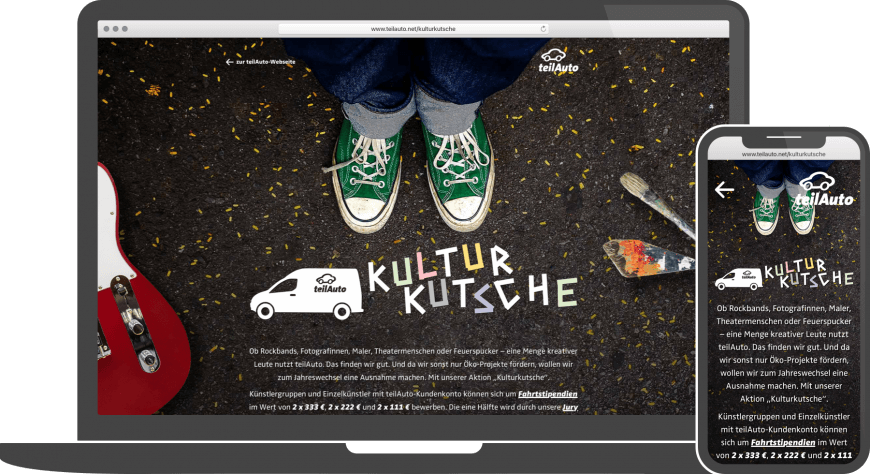 Referenz Webdesign Website teilAuto Kulturkutsche